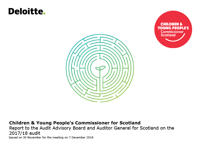Report cover: Children and Young People's Commissioner Scotland annual audit report 2017/18