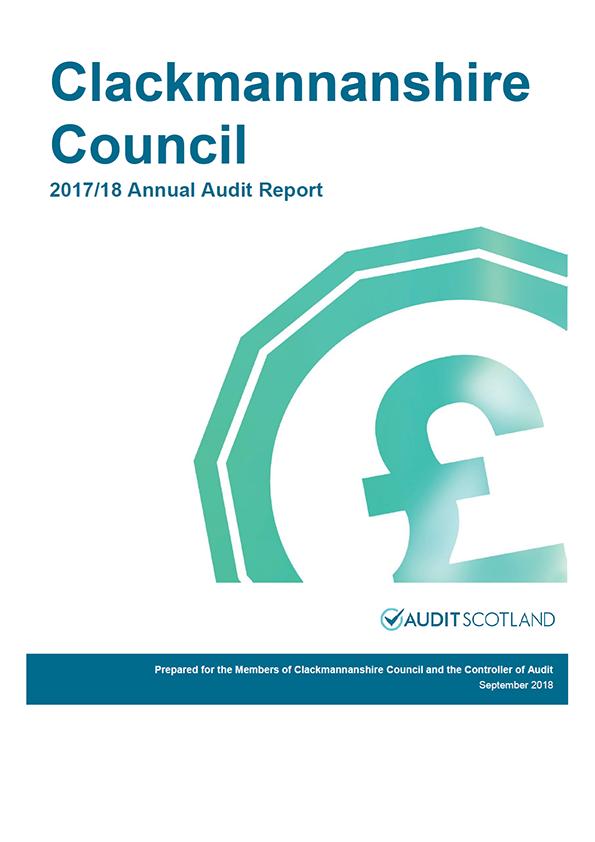 Report cover: Clackmannanshire Council annual audit report 2017/18