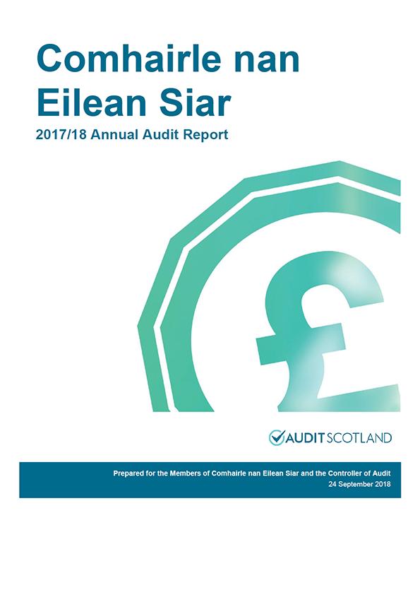 Report cover: Comhairle nan Eilean Siar annual audit report 2017/18