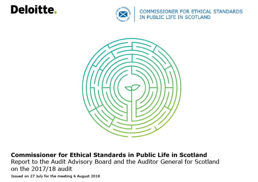 Report cover: Commissioner for Ethical Standards in Public Life in Scotland annual audit report 2017/18