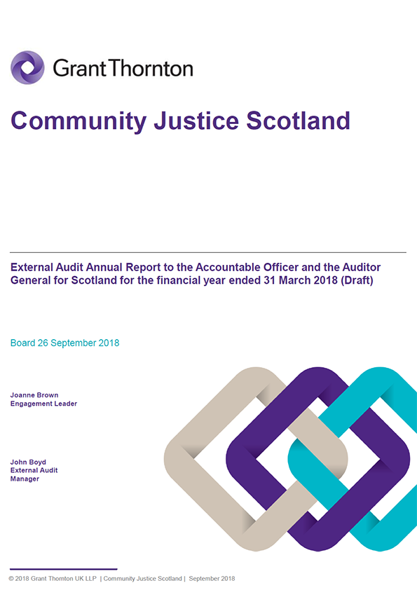 Report cover: Community Justice Scotland annual audit report 2017/18