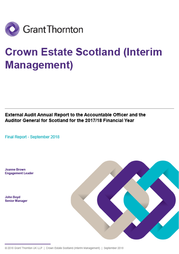 Report cover: Crown Estate Scotland annual audit report 2017/18