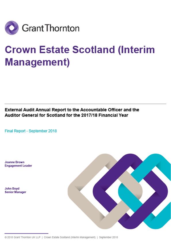 Report cover: Crown Estate Scotland annual audit report 2017/18