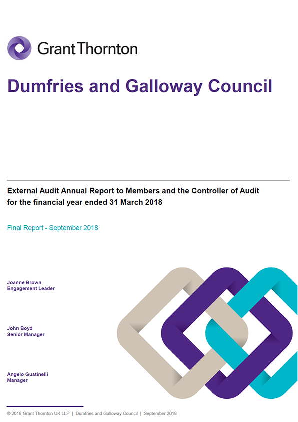 Report cover: Dumfries and Galloway Council annual audit report 2017/18