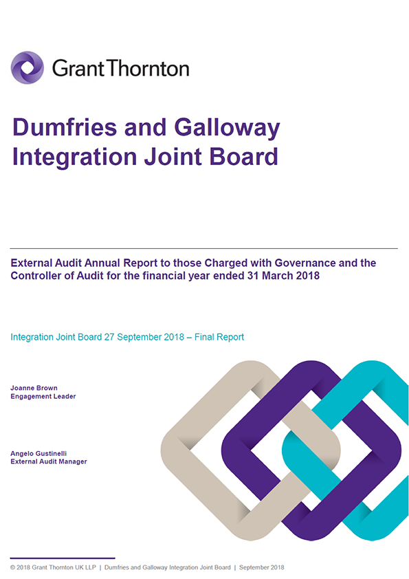 Report cover: Dumfries and Galloway Integration Joint Board annual audit report 2017/18