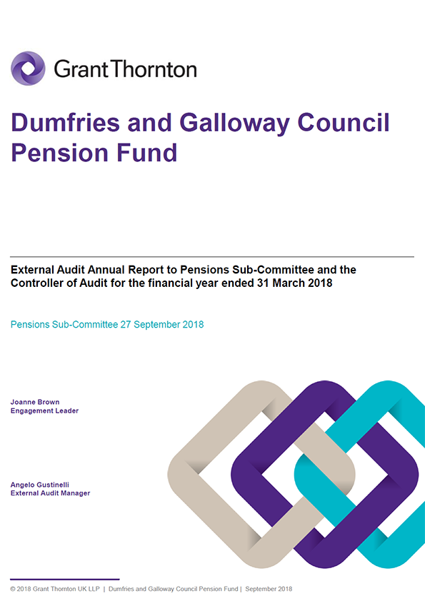 Report cover: Dumfries and Galloway Pension Fund annual audit report 2017/18