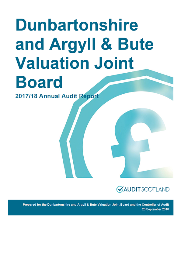 Report cover: Dunbartonshire and Argyll and Bute Valuation Joint Board annual audit report 2017/18