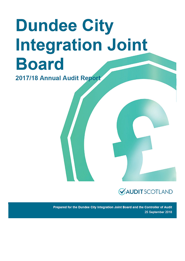 Report cover: Dundee City Integration Joint Board annual audit report 2017/18