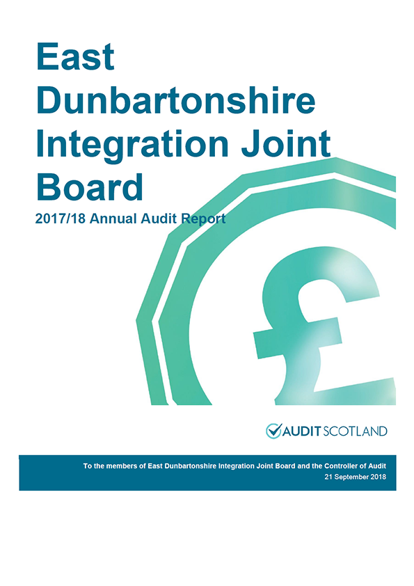 Report cover: East Dunbartonshire Integration Joint Board annual audit report 2017/18
