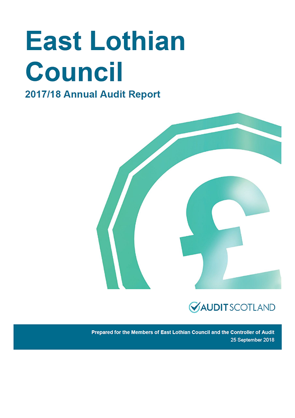 Report cover: East Lothian Council annual audit report 2017/18