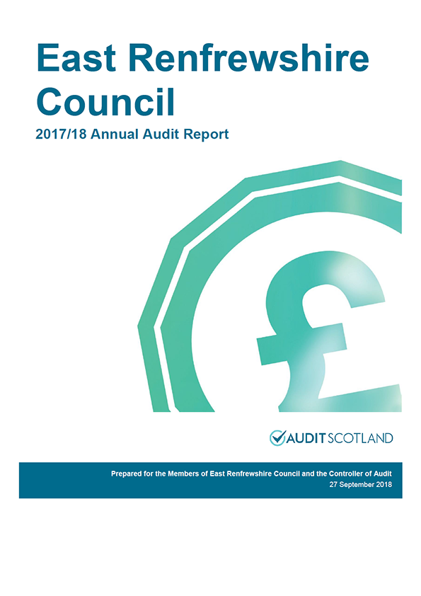 Report cover: East Renfrewshire Council annual audit report 2017/18