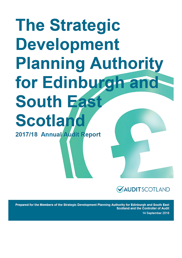 Report cover: The Strategic Development Planning Authority for Edinburgh and South East Scotland annual audit report 2017/18