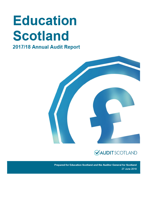 Report cover: Education Scotland annual audit report 2017/18