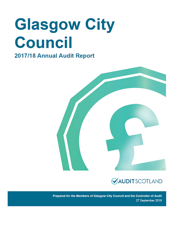 Report cover: Glasgow City Council annual audit report 2017/18