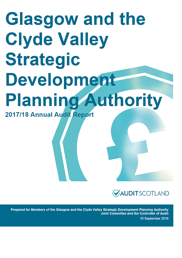 Report cover: Glasgow and the Clyde Valley Strategic Development Planning Authority annual audit report 2017/18