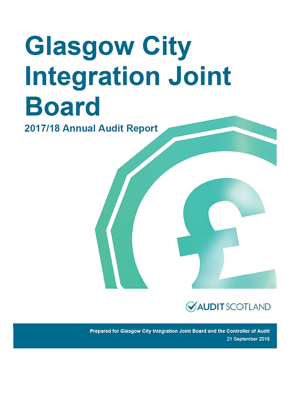 Report cover: Glasgow City Integration Joint Board annual audit report 2017/18