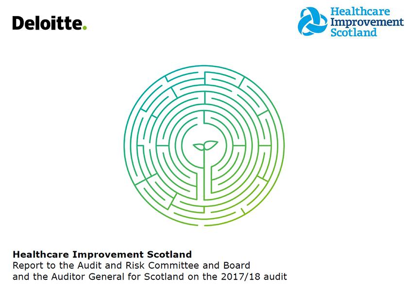 Report cover: Healthcare Improvement Scotland annual audit report 2017/18