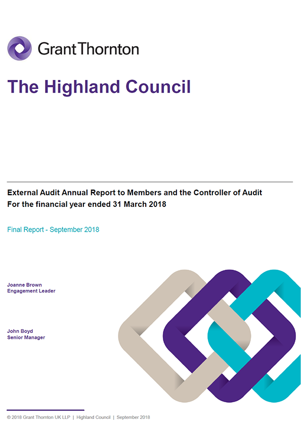 Report cover: The Highland Council annual audit report 2017/18