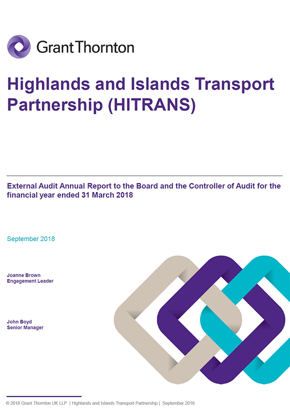 Report cover: Highlands and Islands Transport Partnership annual audit report 2017/18
