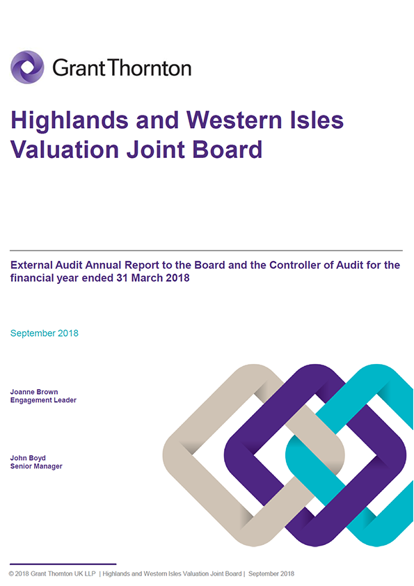 Report cover: Highlands and Western Isles Valuation Joint Board annual audit report 2017/18