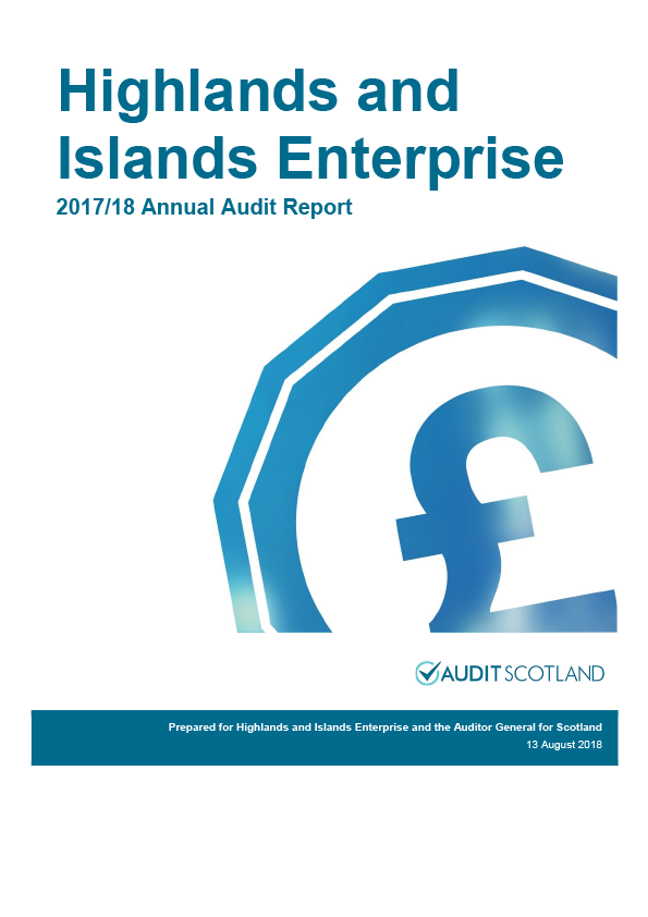 Report cover: Highlands and Islands Enterprise annual audit report 2017/18