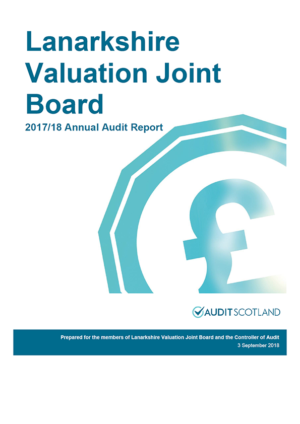 Report cover: Lanarkshire Valuation Joint Board annual audit report 2017/18