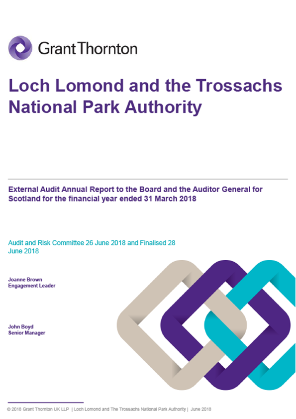 Report cover: Loch Lomond and the Trossachs National Park Authority annual audit report 2017/18