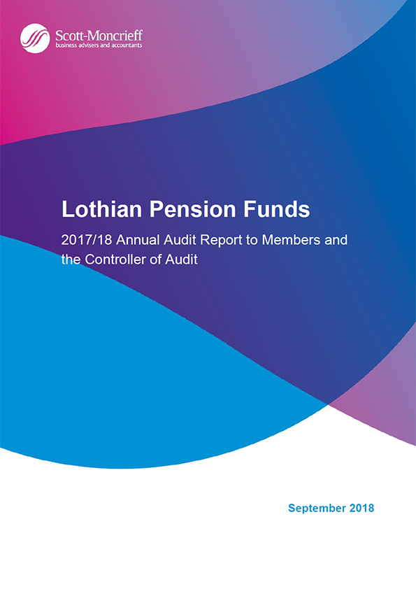 Report cover: Lothian Pension Funds annual audit report 2017/18