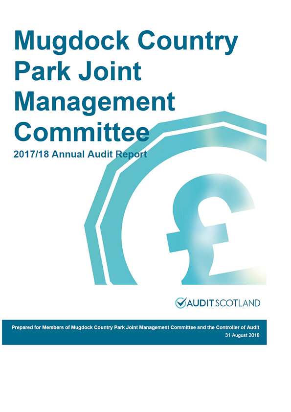 Report cover: Mugdock Country Park Joint Management Committee annual audit report 2017/18