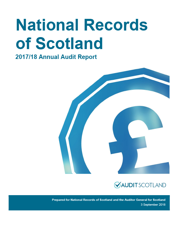 Report cover: National Records of Scotland annual audit report 2017/18