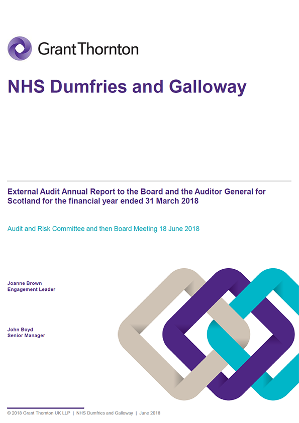 Report cover: NHS Dumfries and Galloway annual audit report 2017/18