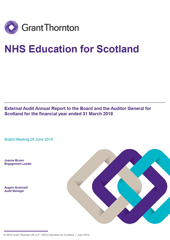 Report cover: NHS Education for Scotland annual audit report 2017/18