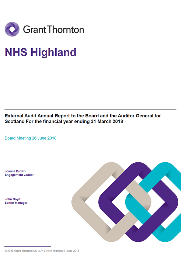 Report cover: NHS Highland annual audit report 2017/18