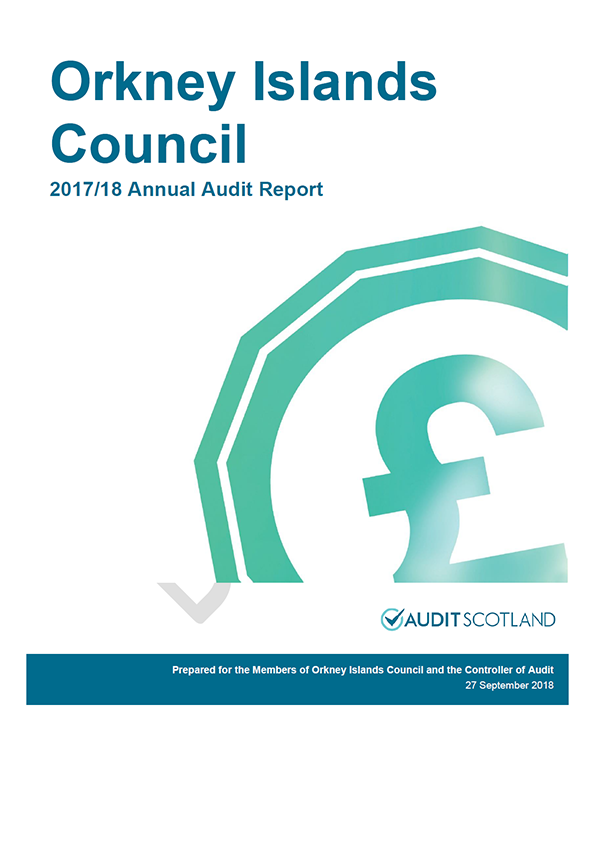 Report cover: Orkney Islands Council annual audit report 2017/18
