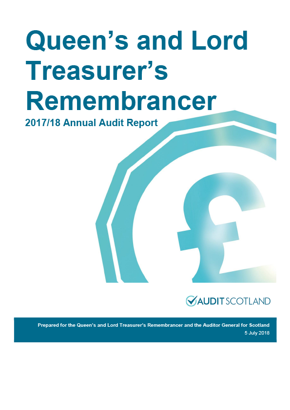 Report cover: Queen's and Lord Treasurer's Remembrancer annual audit report 2017/18