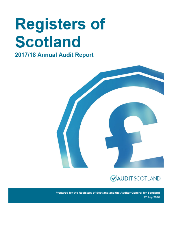 Report cover: Registers of Scotland annual audit report 2017/18