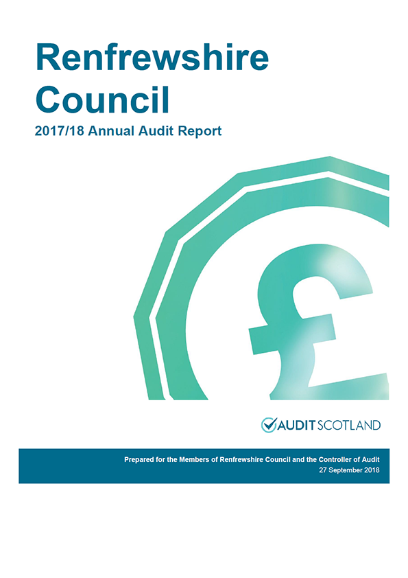 Report cover: Renfrewshire Council annual audit report 2017/18