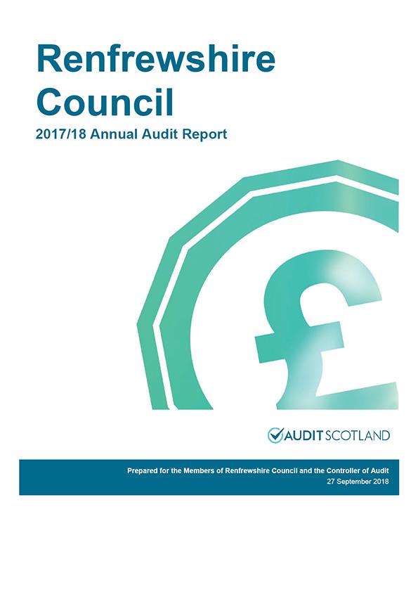 Report cover: Renfrewshire Council annual audit report 2017/18