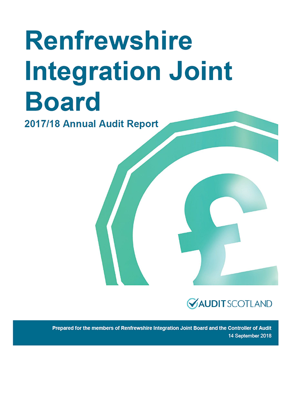 Report cover: Renfrewshire Integration Joint Board annual audit report 2017/18