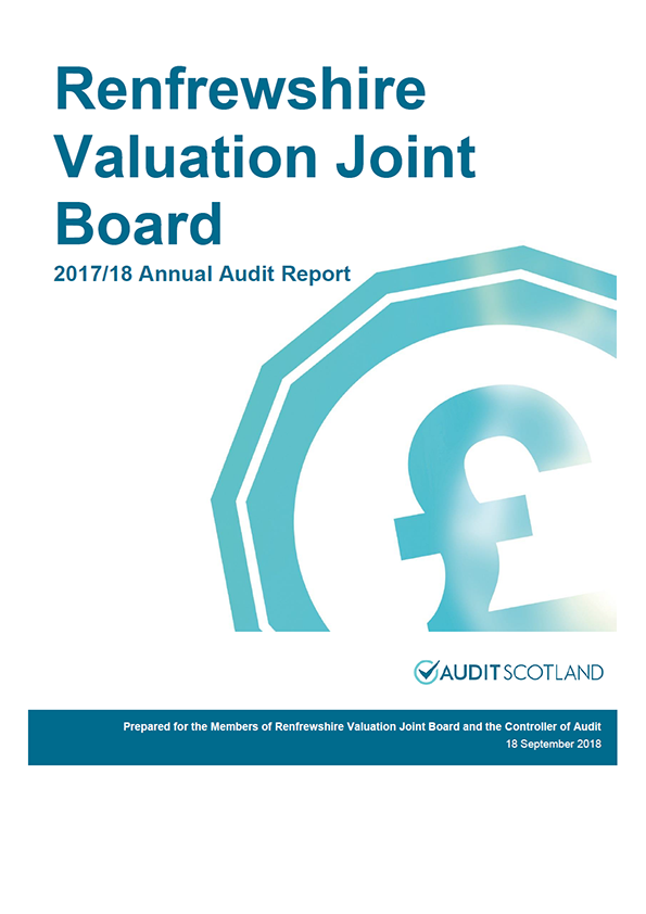 Report cover: Renfrewshire Valuation Joint Board annual audit report 2017/18
