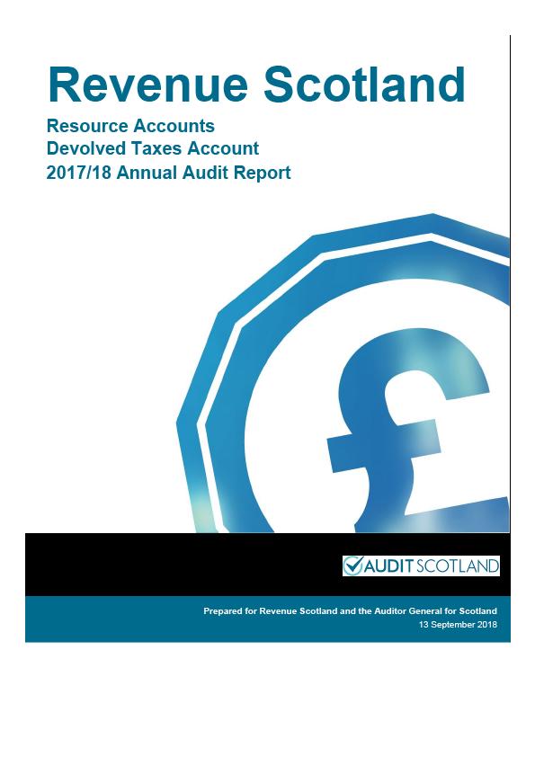 Report cover: Revenue Scotland annual audit report 2017/18