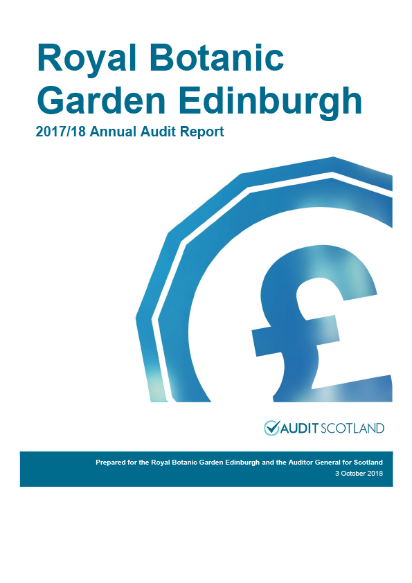 Report cover: Royal Botanic Gardens Edinburgh annual audit report 2017/18