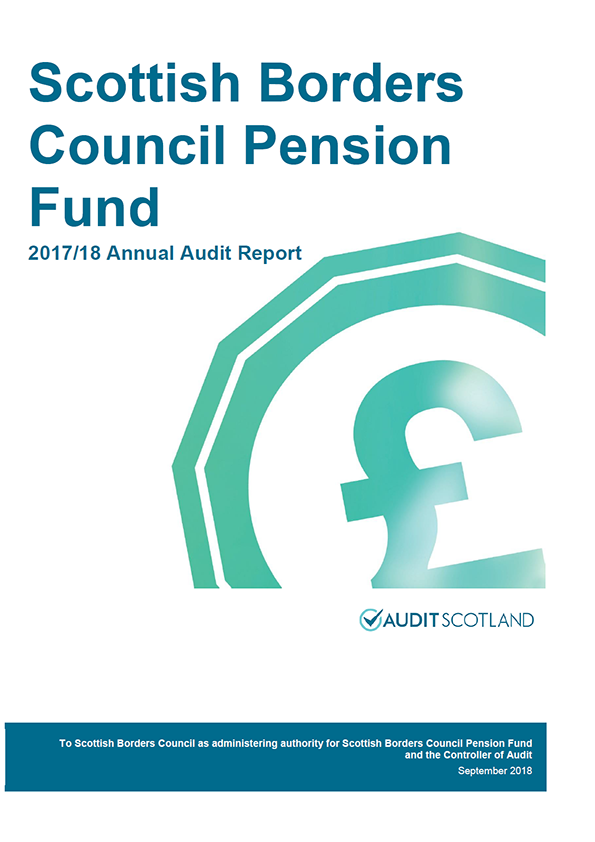 Report cover: Scottish Borders Council Pension Fund annual audit report 2017/18