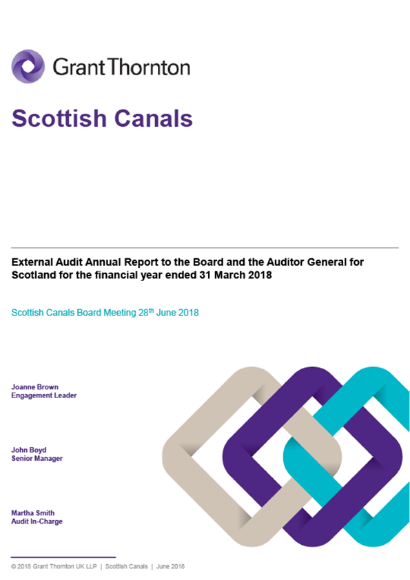 Report cover: Scottish Canals annual audit report 2017/18