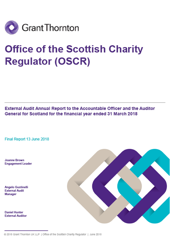 Report cover: Office of the Scottish Charity Regulator annual audit report 2017/18