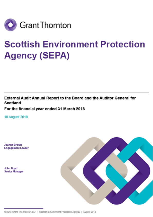 Report cover: Scottish Environment Protection Agency annual audit report 2017/18