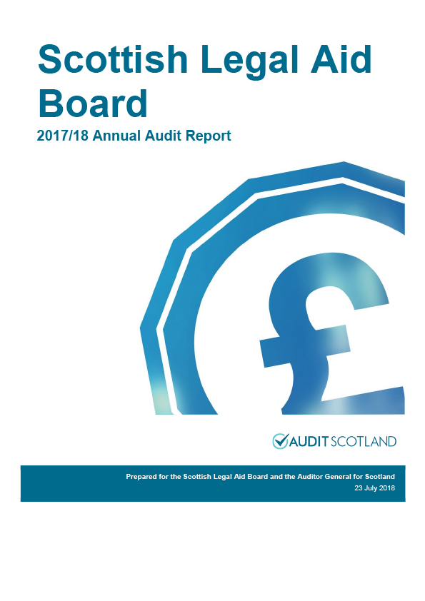 Report cover: Scottish Legal Aid Board annual audit report 2017/18