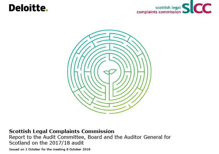 Report cover: Scottish Legal Complaints Commission annual audit report 2017/18