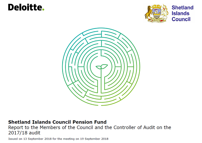 Report cover: Shetland Islands Council Pension Fund  annual audit report 2017/18