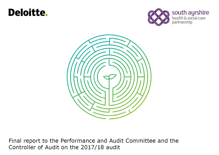 Report cover: South Ayrshire Integration Joint Board annual audit report 2017/18